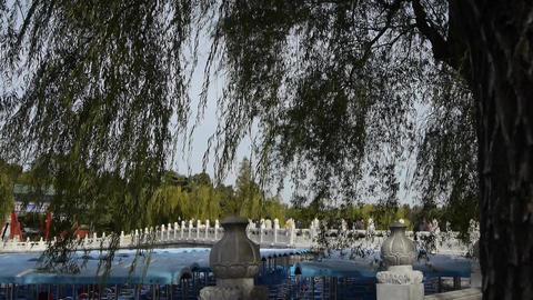China Beijing ancient architecture Beihai Park white... Stock Video Footage