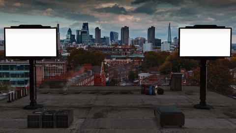 Timelapse of the city of London seen from the rooftops with 2 screens for custom Footage