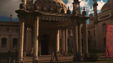 Closeup panning shot of the Royal Pavilion in Brighton, England, UK Live Action