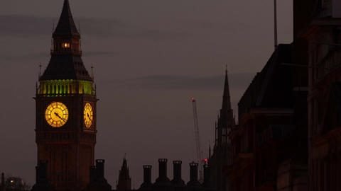 Closeup evening timelapse of the Big Ben (Elizabeth Tower) in London, England, U Footage