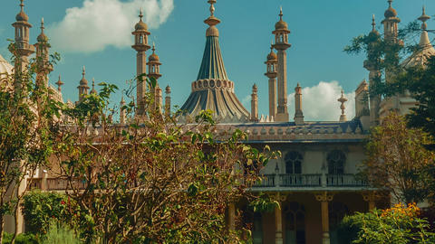 Closeup tilting shot of the Royal Pavilion in Brighton, England, UK on a sunny d Live Action