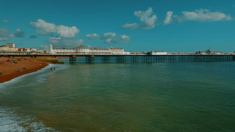 Wide angle view of the Marine Palace and Pier in the coast of Brighton, England, Footage