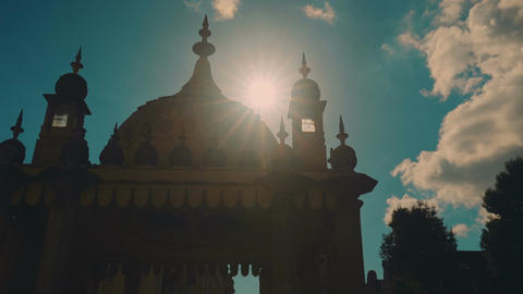 Low key silhouette shot of the famous Royal Pavilion Palace in the city of Brigh Footage