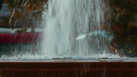 Closeup detail of a large fountain in Trafalgar Square, London, England, UK Footage