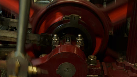 Closeup shot of an old industrial steam engine in motion ビデオ