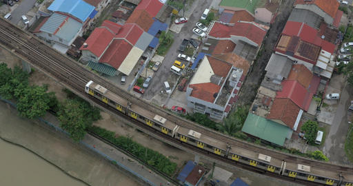 Train moving on overground railway in Kuala Lumpur, Malaysia Footage