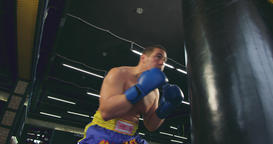 Boxer training punching bag 4k video. Fighter fulfills defense block punches Footage