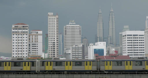 View of train on the foreground and modern buildings skyscraper on the backgroun Footage