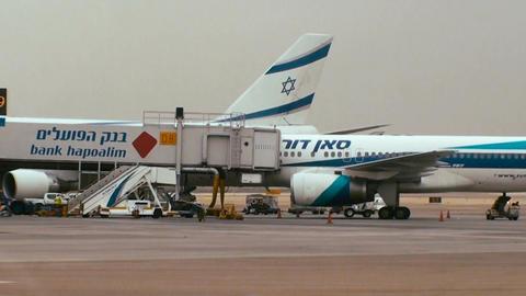 Tracking shot of terminal 3 at Ben Gurion international airport Footage