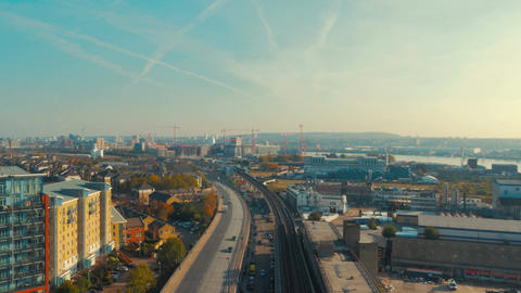 Wide angle aerial view of the dockyards, highways and industrial developments in
