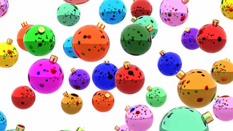 Colorful glossy Christmas balls looping 3D animation Animation