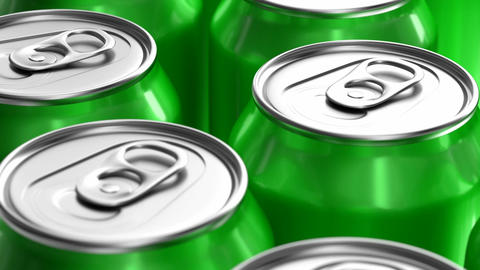 Green soda cans looping 3D animation Animación