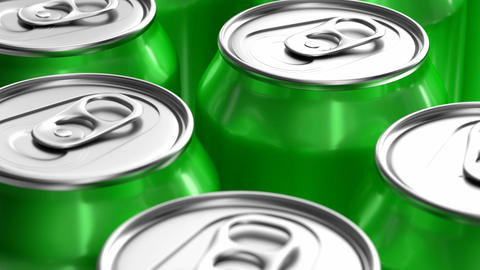 Green soda cans looping 3D animation Stock Video Footage