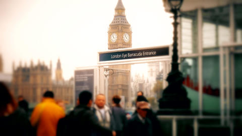 London. Summer. Big Ben. Middle and close-up. View of the tower of Big Ben Footage