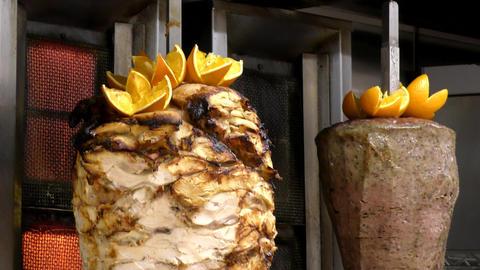 London. Summer. Fast food. Doner kebab, Turkish cuisine Live Action