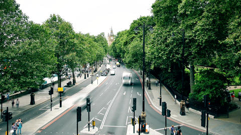 London. Summer. Road. Time lapse. The road leading to Big Ben Footage