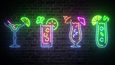 Collection Tropical cocktails drinks bar light bar neon sign bar cocktails wall light wall neon sign Animation