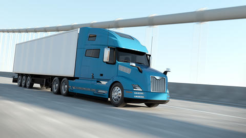 Blue Modern Big Semi Truck with Cargo Trailer Route on Road Logistic Delivery 4k Animation