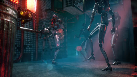 Cyber robots relax and dance in the cyber city of the future. The animation for fantastic, the Animation
