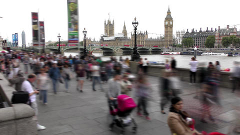 Time lapse. London. The sidewalk along the River Thames Footage