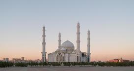 Hazrat Sultan Mosque at sunset. Almaty, Kazakhstan. Zoom. TimeLapse Footage
