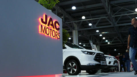 Close-up JAC motors logo Live Action