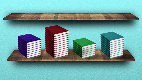 Stacks of books with blank hardcovers appear on wooden shelf Animation