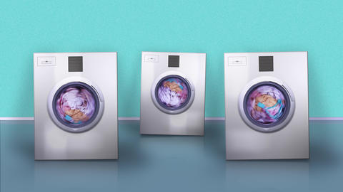 Machines with blank screens jump washing dirty laundry Animation