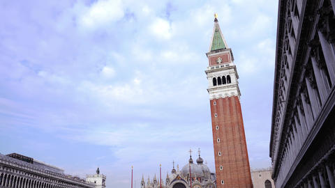 View on famous red building of Saint Mark Campanile Live Action