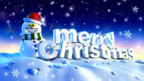 Beautiful merry christmas with snowfall Animation