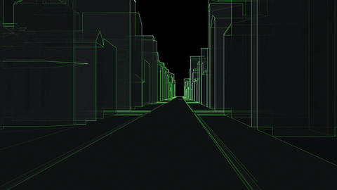 City town green lines 3d drawings Futuristic modern space Animation