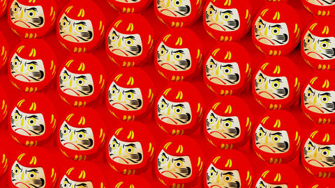 Red Daruma dolls on red background. Loop able animation for background Animation