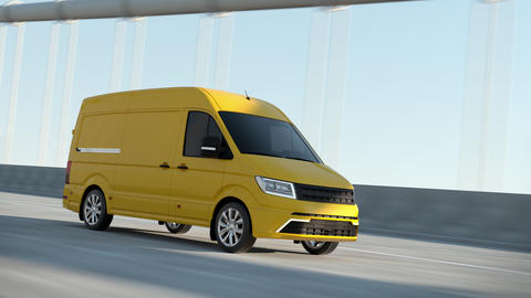 Modern Yellow Delivery Van Driving Postal Auto Cargo Product Service on Highway Animation