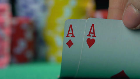 Poker champion showing master class at casino, gambler's point of view Footage