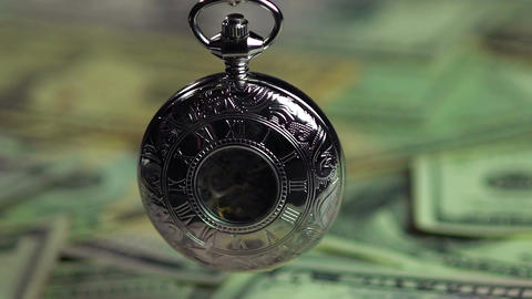 Beautiful silver pocket watch, money does not buy time. Economy and finances Footage