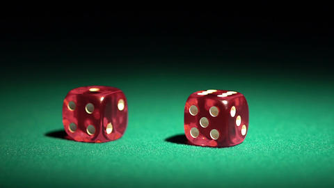 Dice game in slow motion, player winning the super prize. Addiction to gambling Footage