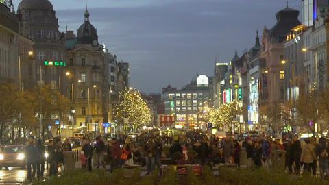 Celebration event on the main boulevard of city, people enjoying street music Footage