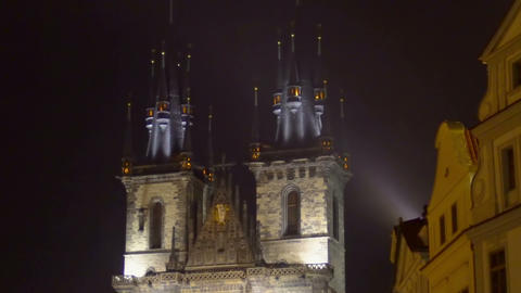 Beautiful view on the Church of Our Lady before Tyn in center of Prague, evening Footage