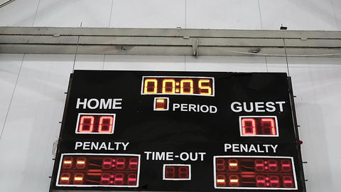 Game results displayed on scoreboard, final countdown, guest team wins match Live Action