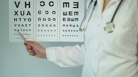 Optometrist examining patient and prescribing treatment and drugs, medicine Footage