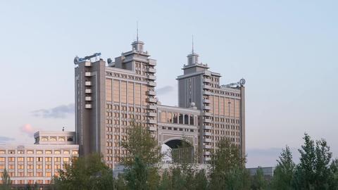 Astana, Kazakhstan - September 5, 2016: Sunset in Astana. View of the skyscraper Footage