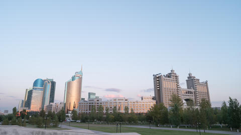 Sunset in Astana. View of the skyscrapers. Kazakhstan Footage