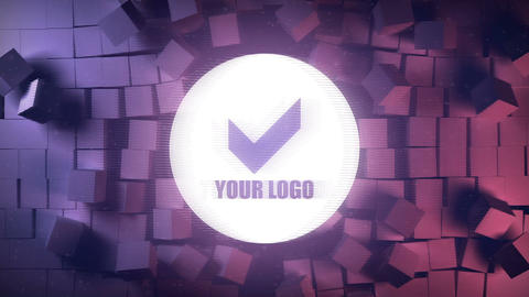 Break cubes wall logo reveal After Effects Template