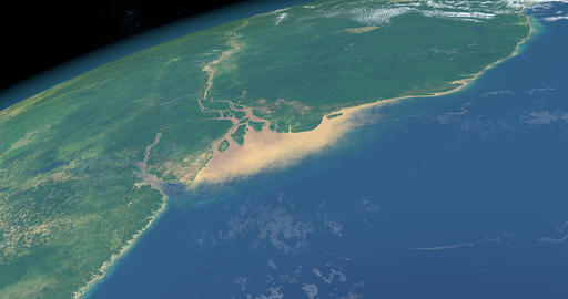 Delta of Amazon river in earth planet from space outer Animation