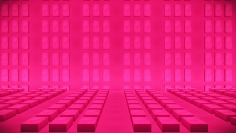 Broadcast Passing Hi-Tech Bricks Wall Stage, Pink, Events, 3D, Loopable, 4K Animation