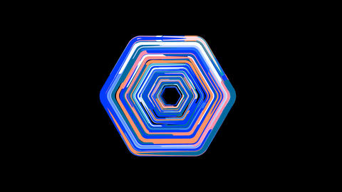 Circles gather in symbol hexagon. After it crumbles in a line and moves to the camera. Alpha channel Animation