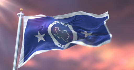 Flag of Tarrant county at sunset, state of Texas, in United States - loop Animation