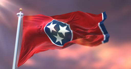 Flag of Tennessee state at sunset, region of the United States - loop Animation