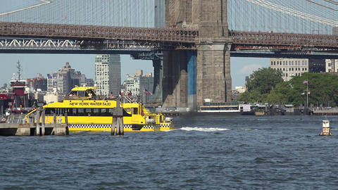 Passenger Ferry And Brooklyn Bridge Live Action