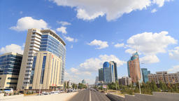 City traffic. Clouds over the city. Kunaev Avenue, Astana, Kazakhstan. TimeLapse Footage
